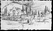 Villa Valier in carboncino per gentile concessione del pittore Bruno Bresciani